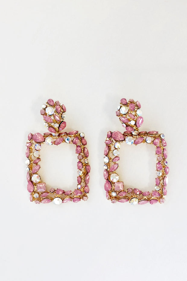Pink Crystal Statement Earrings