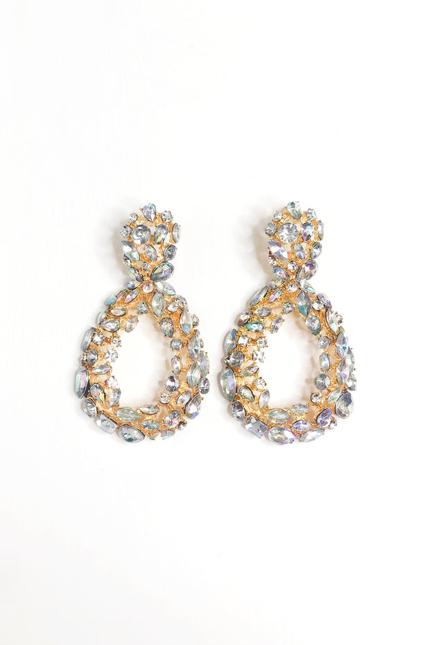 White Crystal Circle Statement Earrings