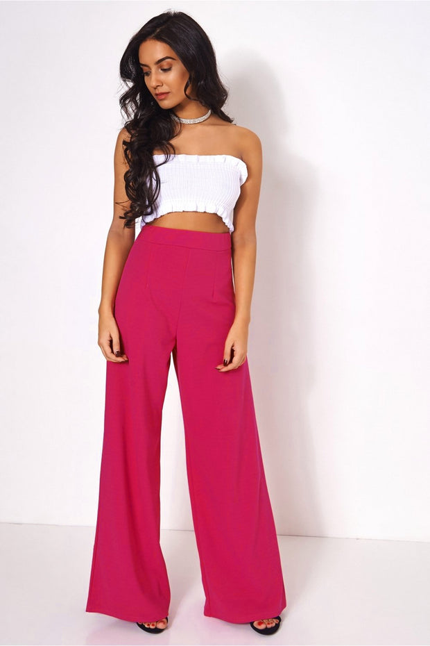 Pink High Waisted Wide Leg Trousers