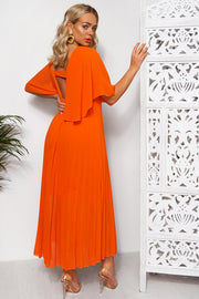Tama Orange Open Back Midi Dress