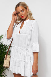Zara White Broderie Smock Dress