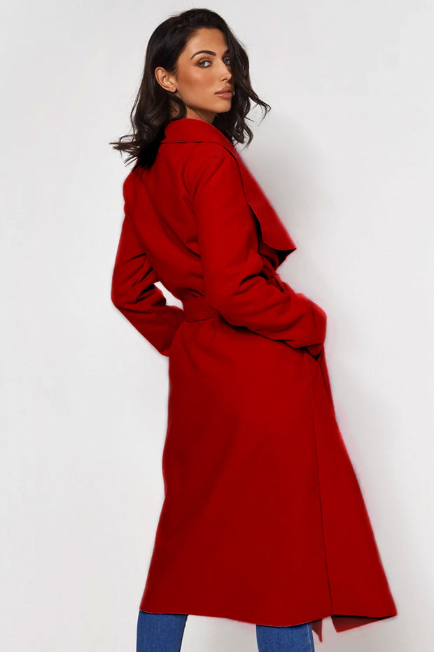 Khloe Red Waterfall Coat