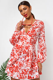 Red Floral Wrap Front Mini Dress