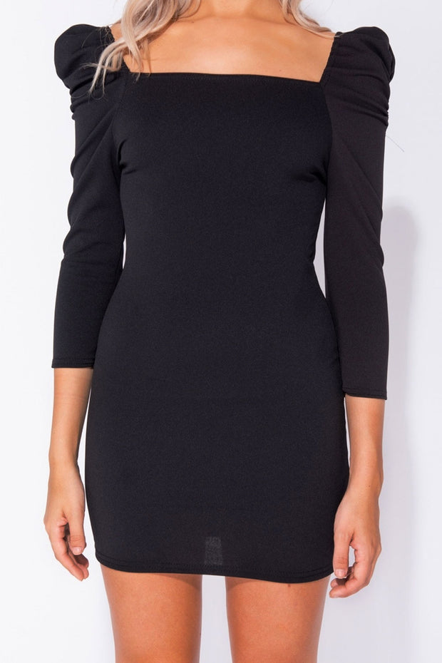 Shea Black Puff Sleeve Bodycon Dress