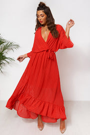 Coco Red Wrap Front Maxi Dress
