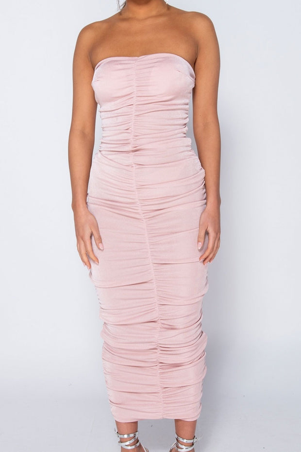 Pink Ruched Maxi Dress