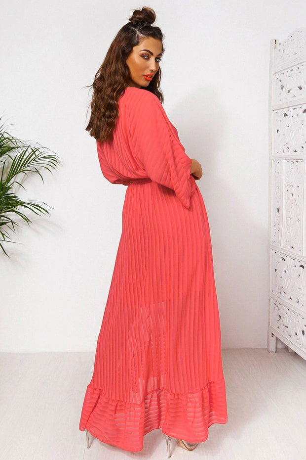 Coco Coral Wrap Front Maxi Dress