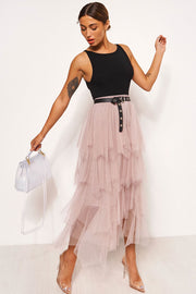 Pink Tulle Overlay Layered Maxi Skirt