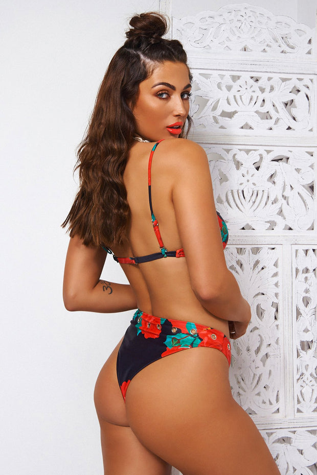 Kiki Red Floral Ring Bikini