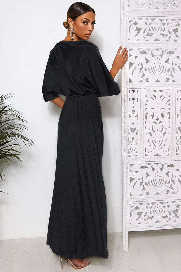 Black Cape Sleeve Maxi Dress