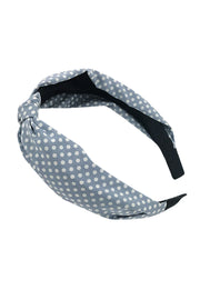 Blue Polka Dot Knot Headband