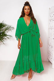 Coco Green Wrap Front Maxi Dress