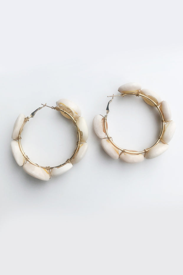 White Shell Hoop Earrings