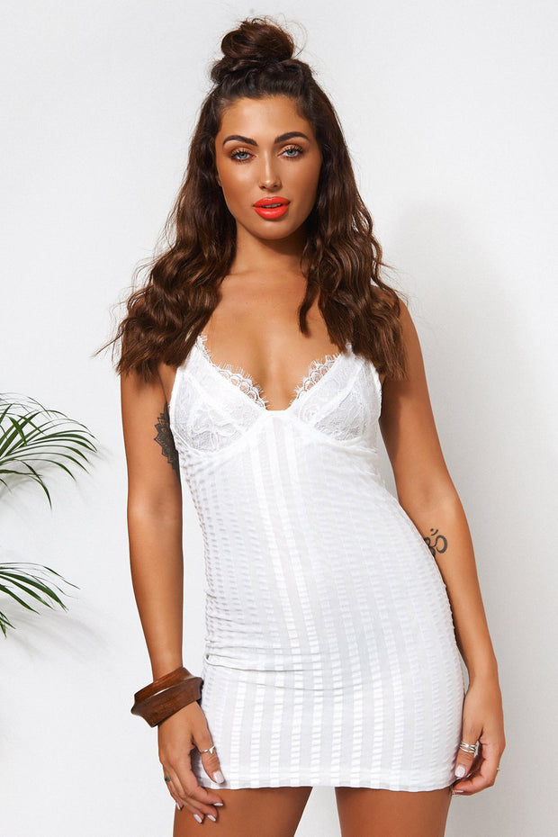 Lanika White Lace Bodycon Dress