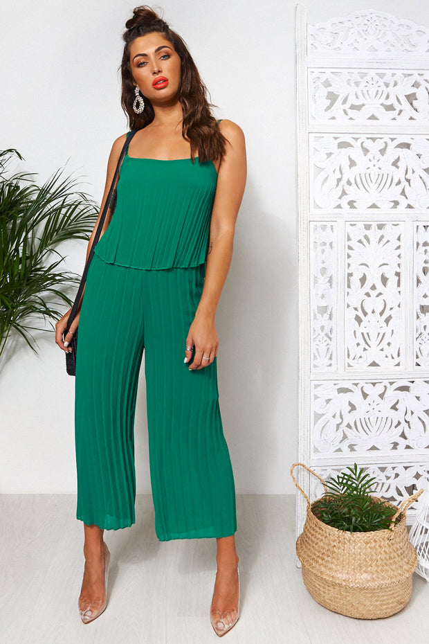Green Culotte Frill Jumpsuit