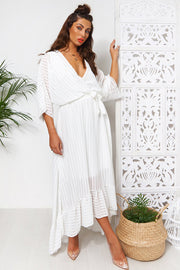 Coco White Wrap Front Maxi Dress