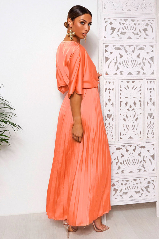 Orange Cape Sleeve Satin Maxi Dress