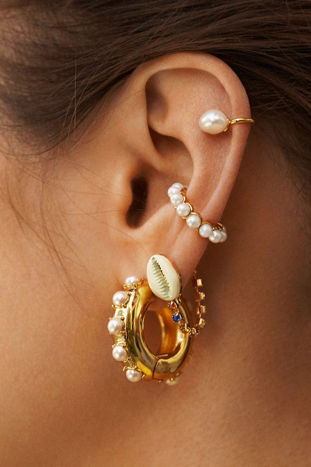 White Pearl Ear Cuff Set