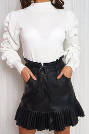 Black Pleated Hem Mini Skirt