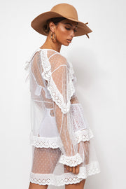 White Sheer Broderie Beach Dress