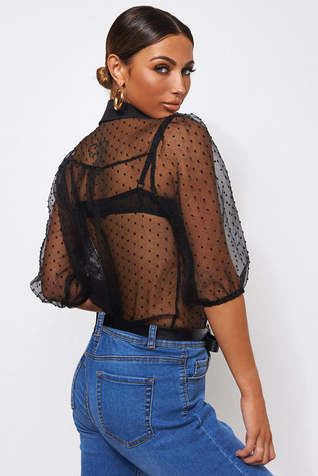 Black Dobby Mesh Blouse