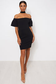 Clara Black Bardot Choker Mini Dress