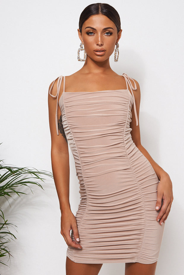 Champagne Ruched Bodycon Dress