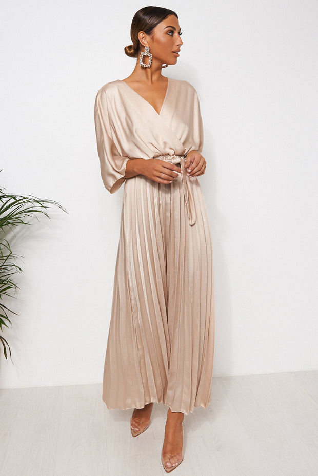 Champagne Cape Sleeve Satin Maxi Dress