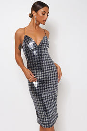 Silver Sequin Cross Back Midi Dress