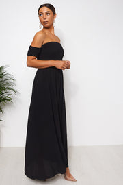 Sissi Black Bardot Maxi Dress