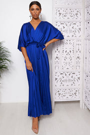 Blue Cape Sleeve Satin Maxi Dress