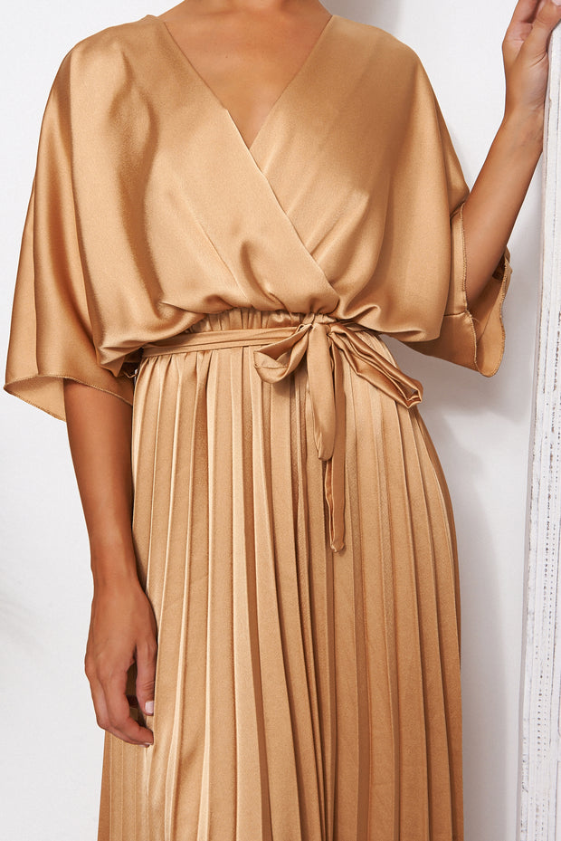 Gold Cape Sleeve Satin Maxi Dress