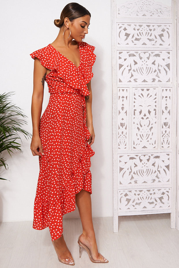 Mica Red Polka Dot Frill Wrap Midi Dress