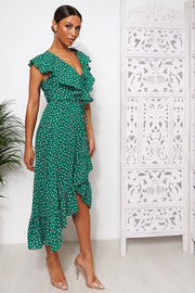 Mica Green Polka Dot Frill Wrap Midi Dress