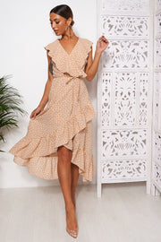 Mica Beige Polka Dot Frill Wrap Midi Dress