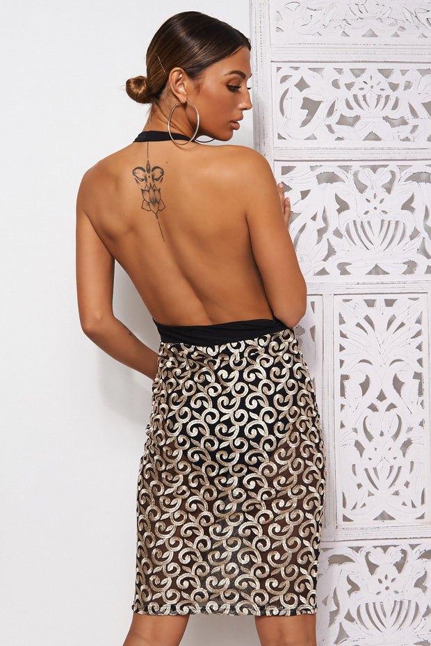 Nila Black & Gold Backless Midi Dress