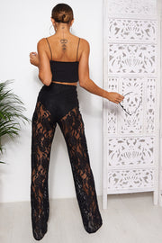 Black Lace Wide Leg Trousers