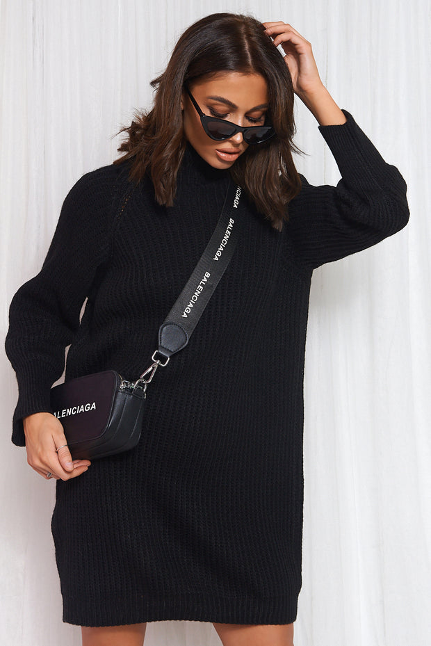 Black Oversized Jumper Dress