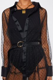 Black Mesh Dobby Shirt Dress