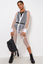 White Mesh Dobby Shirt Dress