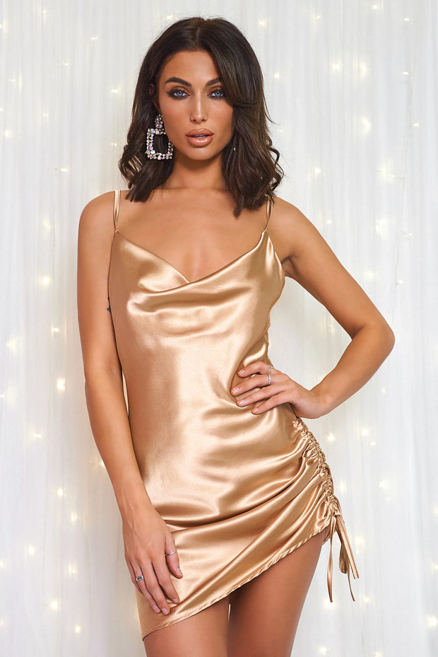 Gold Satin Ruched Slip Dress