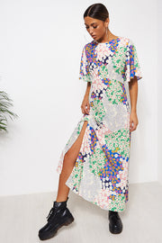 Chloe Green Floral Cape Sleeve Maxi Dress