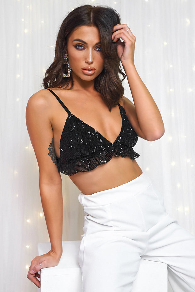 Black Sequin Bra Top