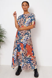 Chloe Orange Floral Cape Sleeve Maxi Dress
