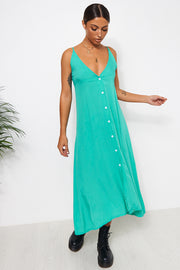 Jade Green Button Front Slip Dress
