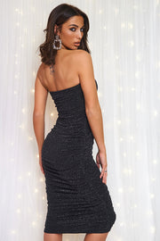 Lois Black Sparkle Ruched Strapless Bodycon Dress