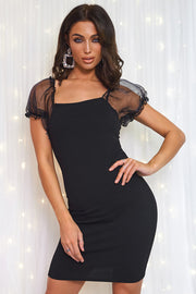 Black Organza Sheer Puff Sleeve Bodycon Mini Dress