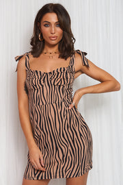 Zebra Print Brown Bodycon Dress