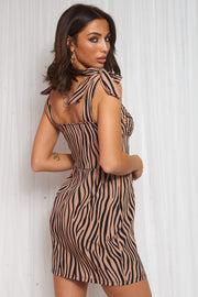Zebra Print Brown Shift Dress