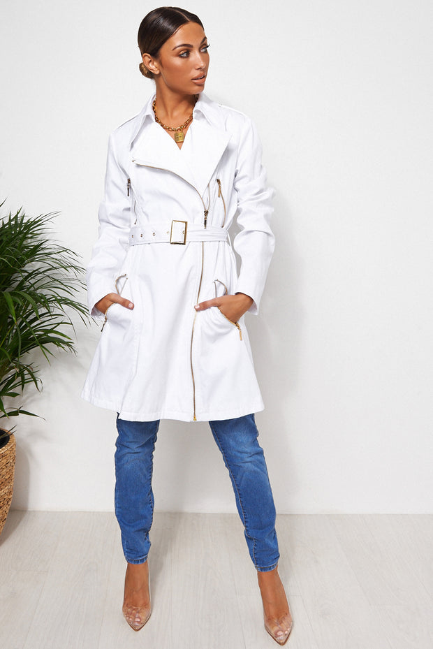 Tia White Trench Coat